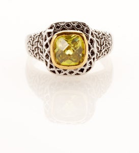 Image of Classic square Cubic Zirconia faceted silvertone ring with brocade boarder