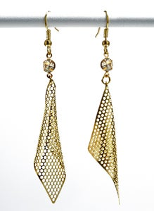 Image of Elegance Elongated ~ perforated golden mesh earrings