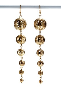 Image of Lacey Spacey ~ Gorgeous filagree golden globe drop earrings