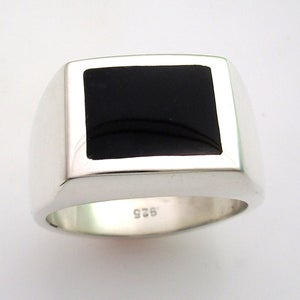 Image of Mens Heavy Custom Square Black Onyx Ring