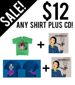Image of RECESSION PACKAGE! Any Shirt + CD $12