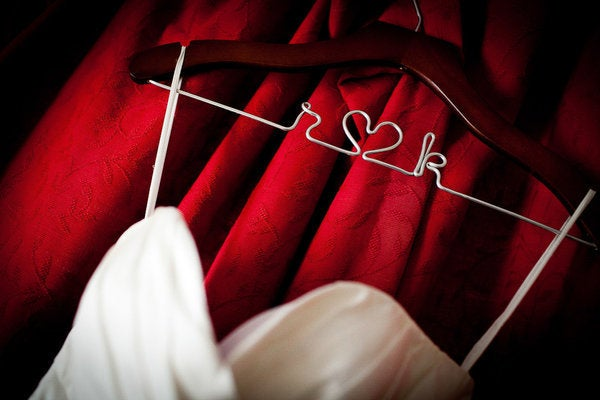 Image of Black Wood and Wire Personalized Wedding Dress Hanger