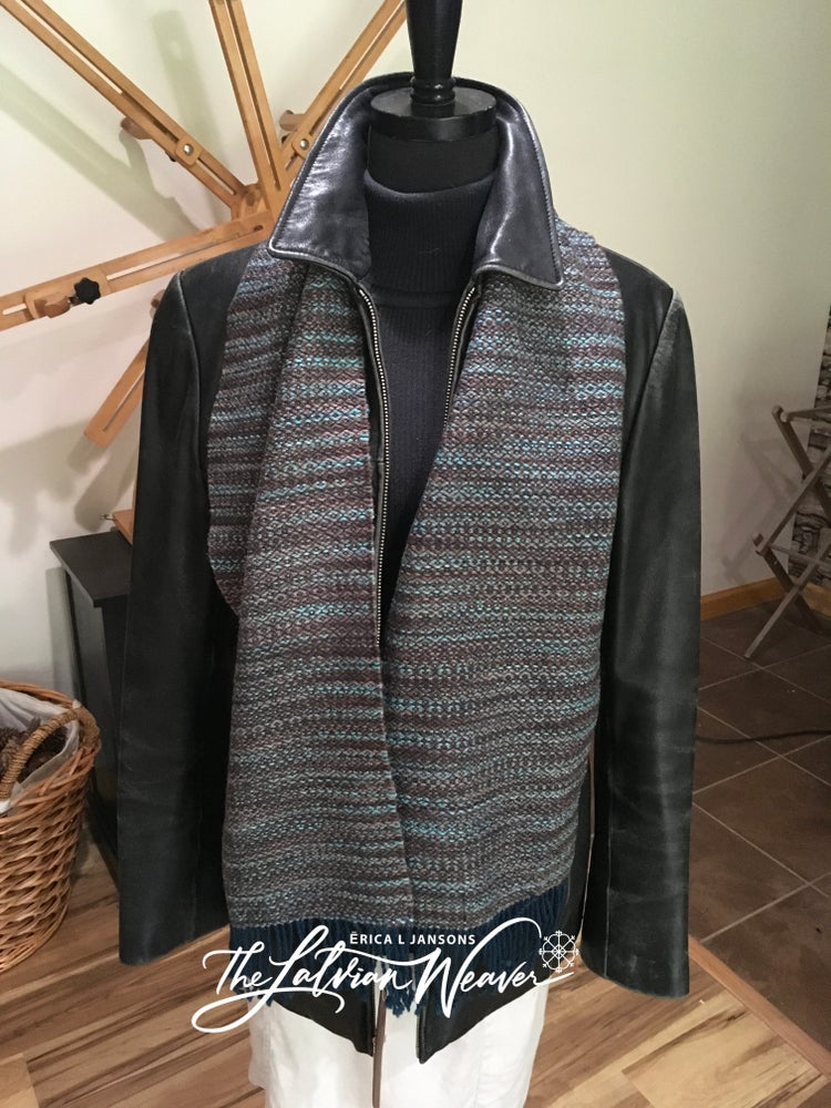 Image of Handwoven Teal Variegated Scarf