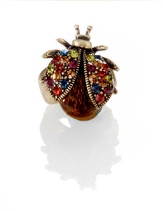 Image of Luck be a Lady ~ Ladybug Swarovski toupe crystal ring