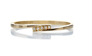 """Image of Daddy's Little Girl ~ 5 """"Cubic Zarconia"""" studs on gold tone thin hinge bracelet"""