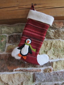 Image of Red Striped Penguin Stocking
