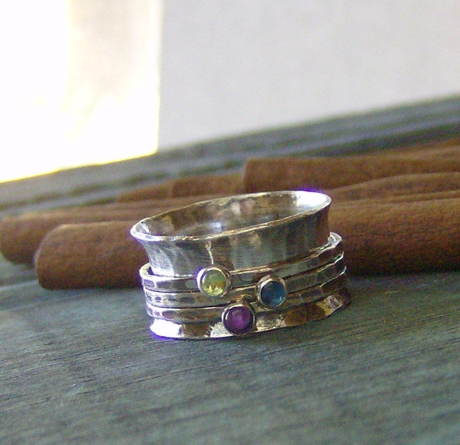 Image of Natural gemstone hand stamped birthstone spinner ring meditation ring