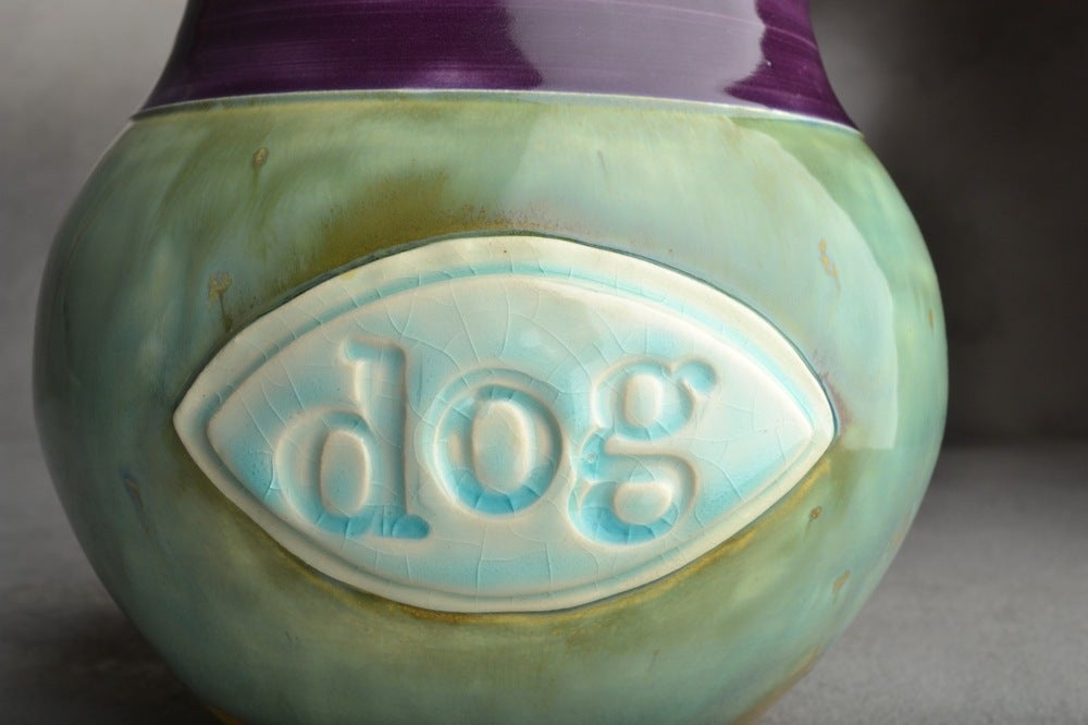 Image of Dog Treat Jar Stamped Dog Plaque