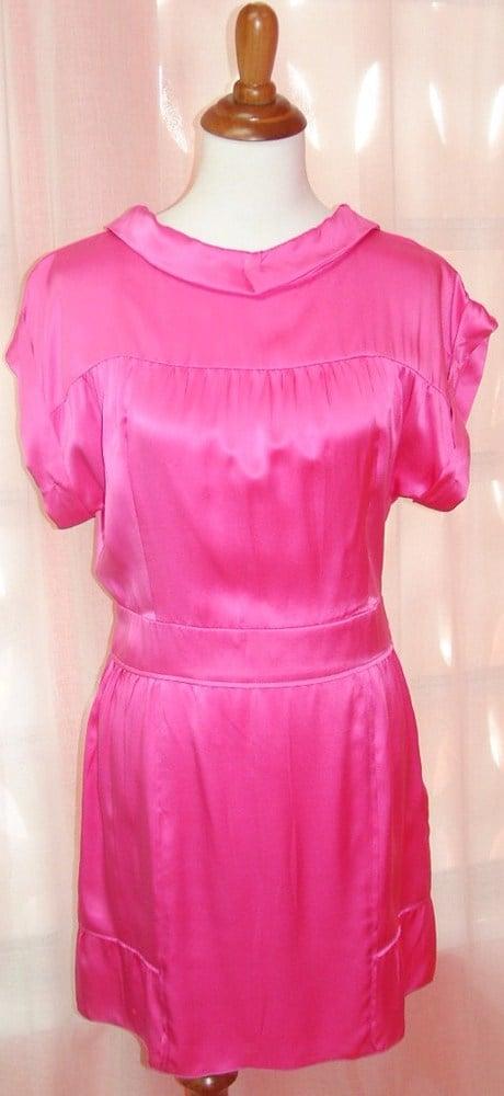Image of Miu Miu Hot Pink Satin Dress