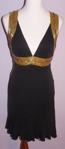 Image of Roberto Cavalli Stunning Cocktail Dress With Gold Beading