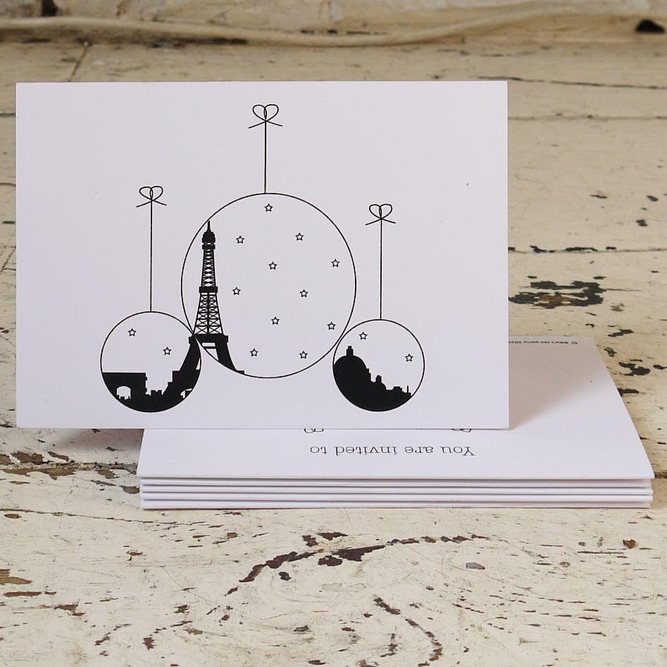 Biba's Tea Party — Paris Christmas Pack of Five Christmas Cards