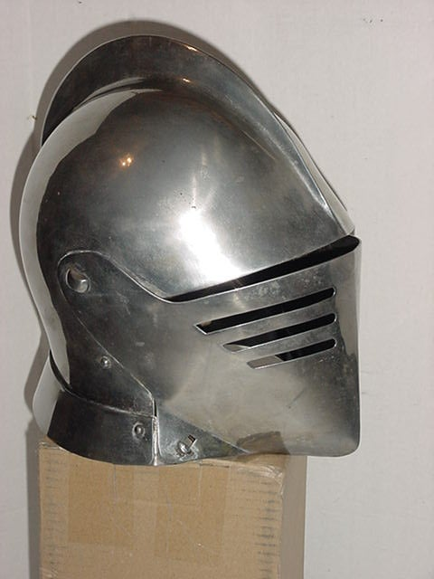 Image of Medieval Knights Full Size Steel Battle Helmet Armor- Hinged Head Protection