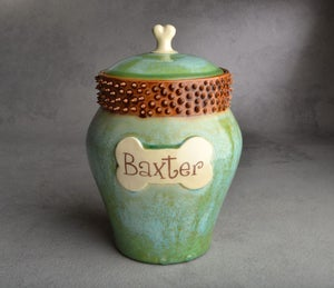 "Image of Dog Treat Jar Patina Brown Spiky Collared ""Baxter"""