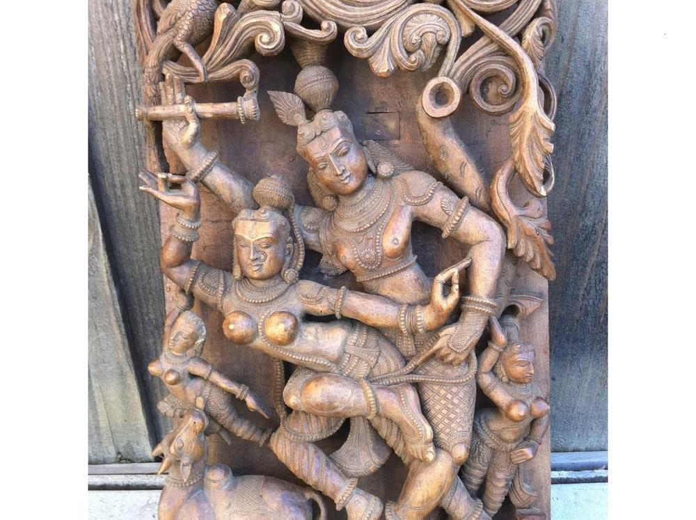 Image of ANTIQUE  KAMASUTRA CARVED WOOD HEADBOARD