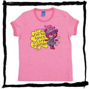 "Image of Ladies T-shirt, Ringer, Pink, Mazey ""I cry Glitter"""