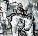 Buddha On Elephant Ink Drawing
