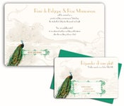 Image of ART DECO PEACOCK<BR>invitation sample set