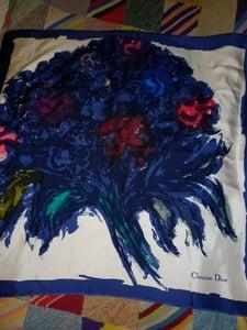 Image of Vintage Christian Dior bouquet print silk headscarf