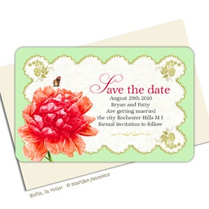 Image of PEONIES IN RETRO STYLE<BR>save the date cards