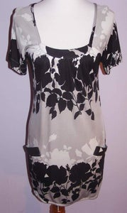 Image of Yigal Azrouel Charcoal, Grey & White Floral Shift Dress