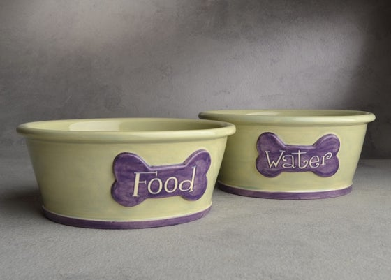 Image of Dog Bowl Set Smooth Sided Food & Water