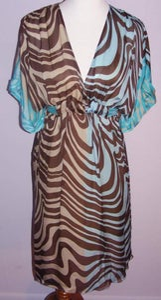 Image of Valentino Turqoise & Animal Print Dress
