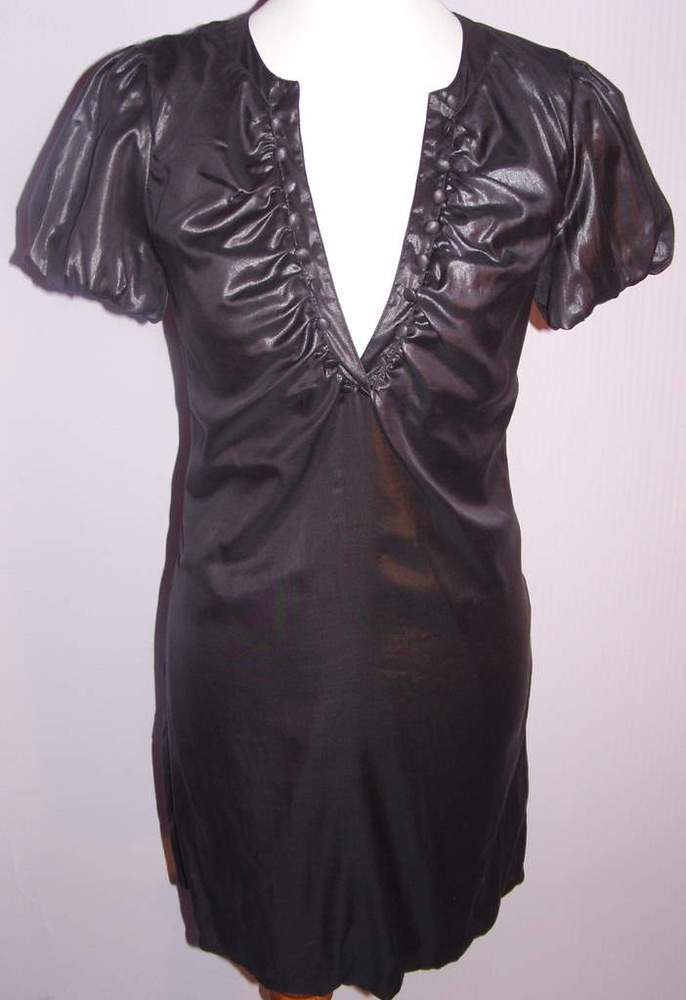 Image of Moschino Jeans Sateen Charcoal V-Neck Bubble Dress