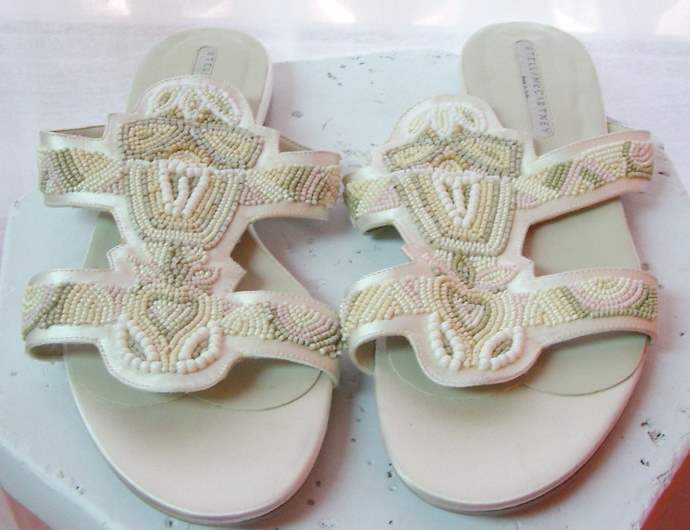 Image of Stella McCartney White Beaded Sandals