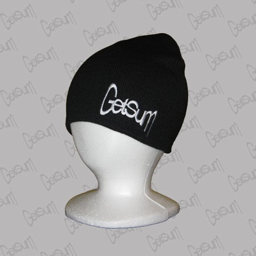 Image of Black Beanie w/White