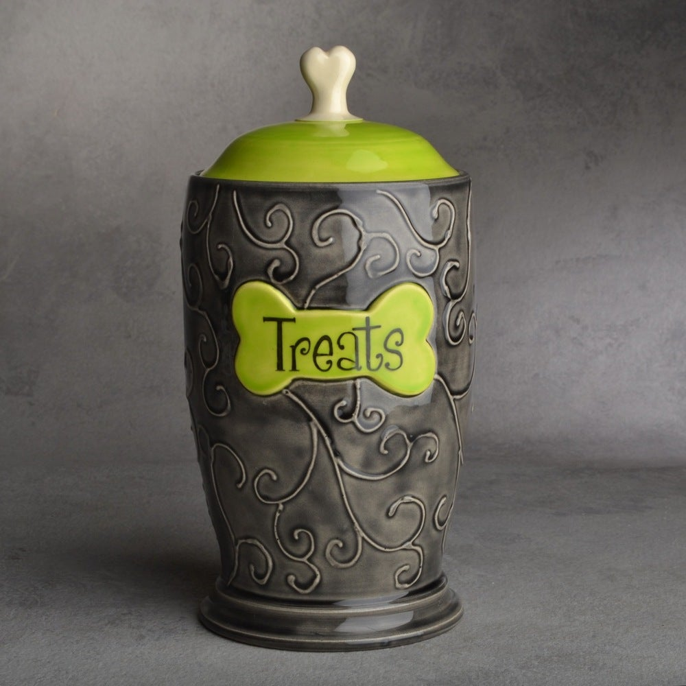 "Image of Dog Treat Jar Black & Green ""Treat"""