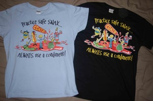 Image of 'Practice Safe Snax, Always Use a Condiment' Shirt (Big Sizes) - FREE POSTAGE in OZ!