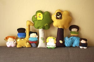 Image of Plush Toy Pillow / Golden Yellow + Chocolate Brown