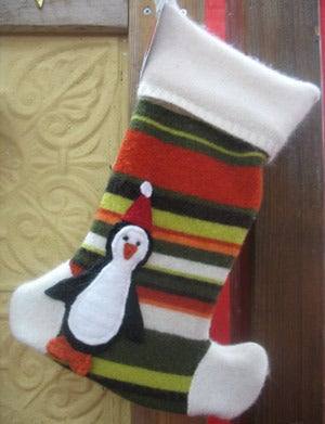 Image of Green Stripe Penguin Holiday Stocking