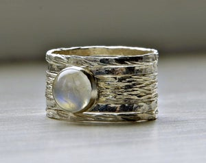 Image of Simone's rustic stackable wedding ring - set of five textured wedding rings with moonstone, made to