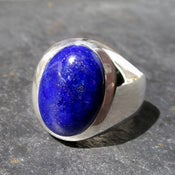 Image of Mens Heavy Oval Lapis Lazuli Ring in Sterling