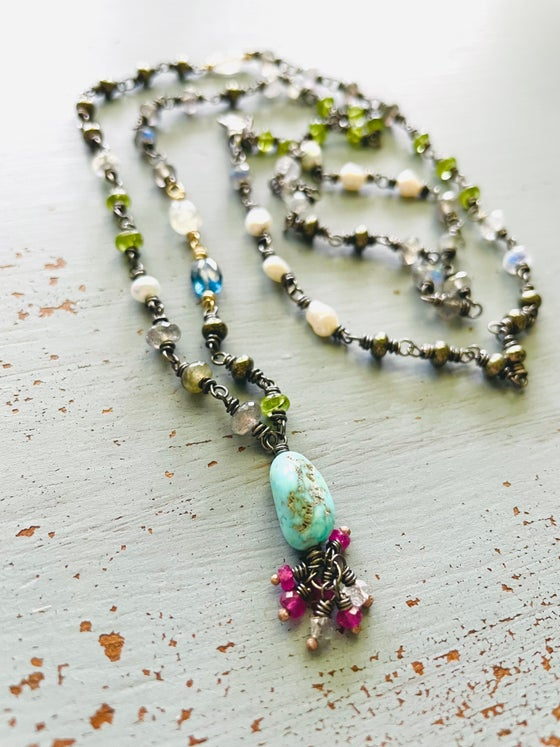Image of Reserved. Sleeping Beauty turquoise and labradorite necklace