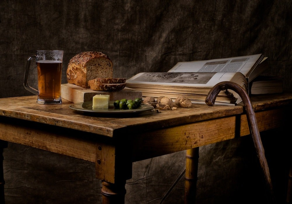 Image of Ale, walnuts, olives, Raw Milk Cheddar cheese, Seven Grain bread