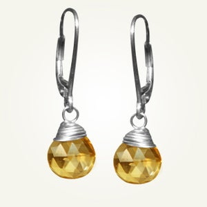 Image of Candy Drop Earrings with Citrine, Sterling Silver