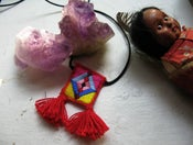 Image of Embroidered Tassel Folk Scapular Pendant, Diamond Pattern