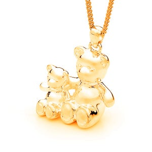 Image of Bears of Hope Pendant (3D) - Large in 9ct Solid Yellow Gold