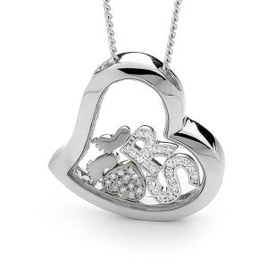 Image of Custom Letters Heart Pendant-Sterling Silver with Sterling Silver Feet & Heart with Cubic Zirconias