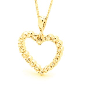 Image of Classic Heart Pendant - In 9ct Yellow Gold with Cubic Zirconia's