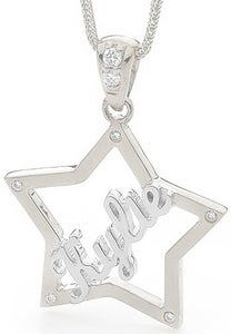 Image of Custom Star Name Pendant - Sterling Silver with Cubic Zirconia's