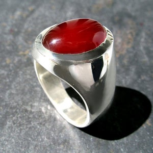 Image of Mens Large Oval Carnelian Agate Ring in Sterling Silver