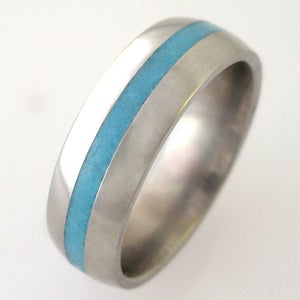 Image of Titanium Turquoise Inlay Band