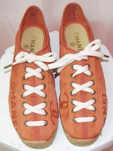 Image of Chanel Tangerine Lace Up Espadrilles