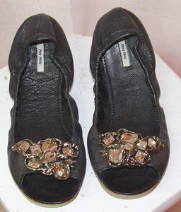 Image of Miu Miu Jeweled Accordion Flats