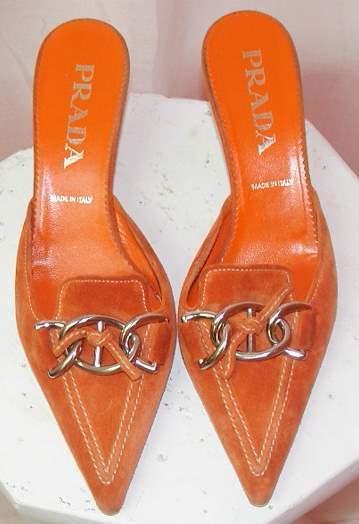 Image of Prada Tangerine Suede Pointy Toe Mules