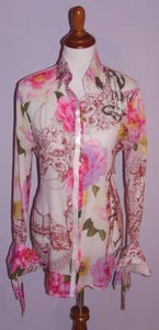 Image of Gfferre Beautifully Printed Cuffed Blouse