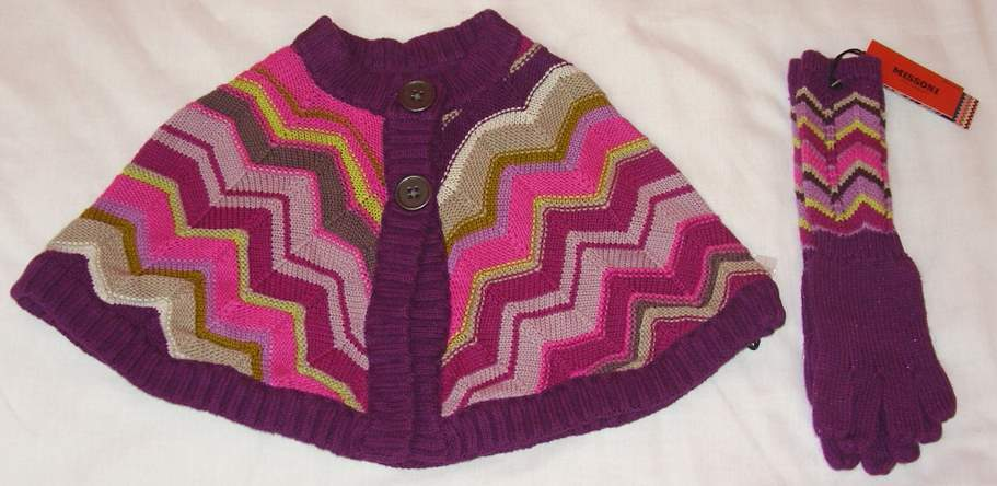 Image of Rare Missoni Toddler Cape & Matching Gloves